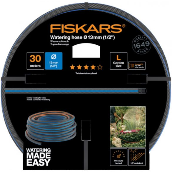 """FISKARS Comfort locsolótömlő 13 mm (1/2"""") 30 m Q4 + AJÁNDÉK KULACS"""