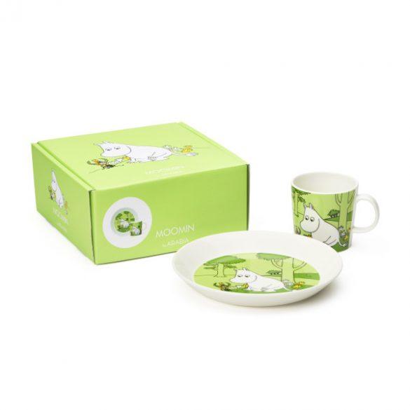 ARABIA MOOMIN tányér és bögre szett, Moomintroll, zöld