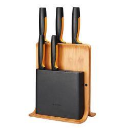 FISKARS Functional Form késkészlet, 5 késsel, bambusz blokkban